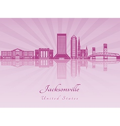Jacksonville skyline in purple radiant orchid vector image