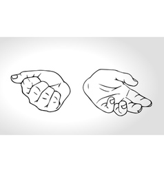 Two hands with open fist and close fist soncept vector