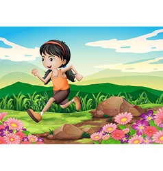 A young girl running hurriedly vector image