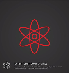 atom outline symbol red on dark background logo vector image