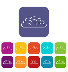 Autumn cloud icons set flat vector