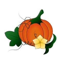 Autumn pumpkin and leaves cartoon vector