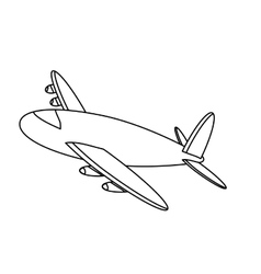 Black line airplane icon image vector