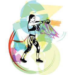 boxing training woman in gym wear gloves vector image vector image
