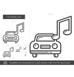 Car music line icon vector image vector image