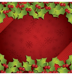 Christmas holly background vector