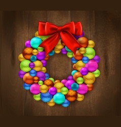 christmas wreath wooden background vector image