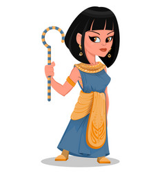 Cleopatra beautiful cartoon egypt queen in golden vector