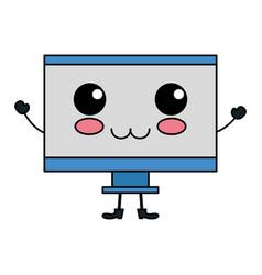 Computer display kawaii character vector
