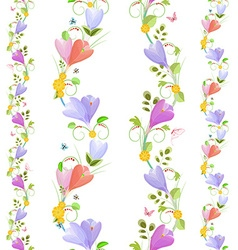 Cute collection of seamless borders with spring vector image