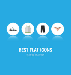 Flat icon clothes set of pants lingerie singlet vector