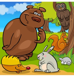 forest wild animals cartoon group vector image vector image