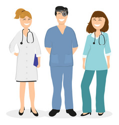 Group of doctors in a hospital flat design vector