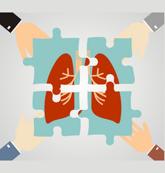 hands putting human lungs puzzle pieces together vector image