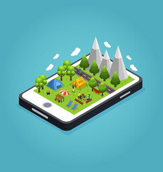 Isometric colorful camping mobile concept vector