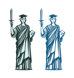 judiciary education symbol notary justice vector image vector image