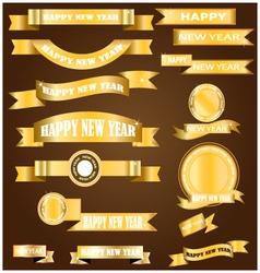 New year gold ribbon vector image vector image