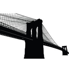 New york brooklyn bridge black silhouette vector