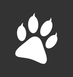 Paw print icon isolated on black background dog vector
