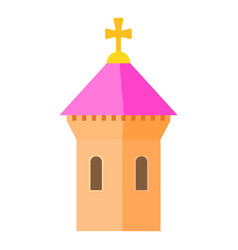 Pink dome of church icon cartoon style vector