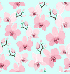 Pink purple exotic orchid flower seamless pattern vector