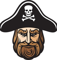 pirate head cartoon vector image vector image