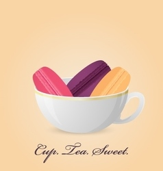 Poster with color french macaroons inside cup vector image vector image