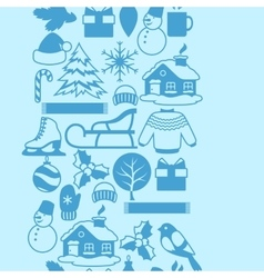 Seamless pattern with winter objects merry vector