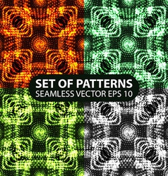 set of 4 seamless glowing ethnic patterns vector image vector image