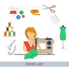 Sewing lady concept vector