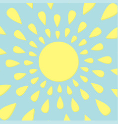 Sun icon yellow rays of light cute cartoon vector