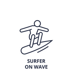 surfer on wave line icon outline sign linear vector image vector image