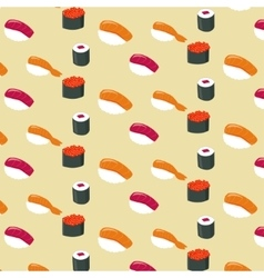 Sushi rolls flat food and japanese seafood vector image