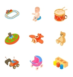 Toys for kids icons set cartoon style vector