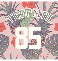 Tropical print with slogan and number in vector