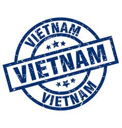 vietnam blue round grunge stamp vector image vector image