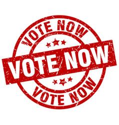 Vote now round red grunge stamp vector