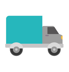 White background with truck with wagon vector