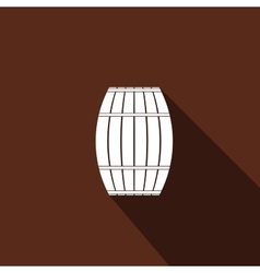 Wooden barrel icon with long shadow vector image