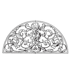 Wrought-iron grill lunette panel is a leaves and vector