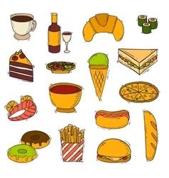 Fast food handmade icons vector image