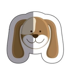 Color sticker with dog head and middle shadow vector