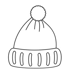 woolen hat icon outline style vector image