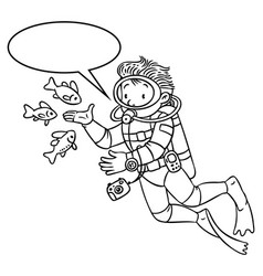 Funny oceanographer or diver coloring book vector