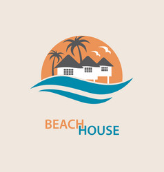 Beach house logo vector