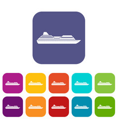 cruise liner icons set vector image