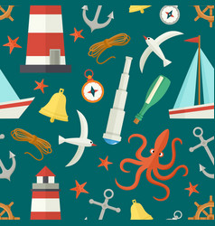 Seamless pattern with cartoon nautical elements vector