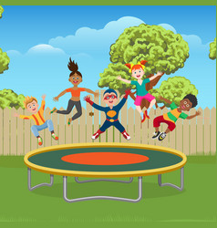 Kids jumping on trampoline in garden vector