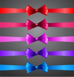 Colorful ribbons with bows vector