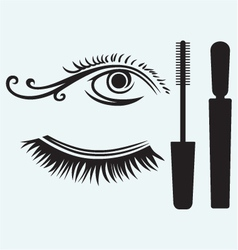 Ink for eyelashes and eye vector image